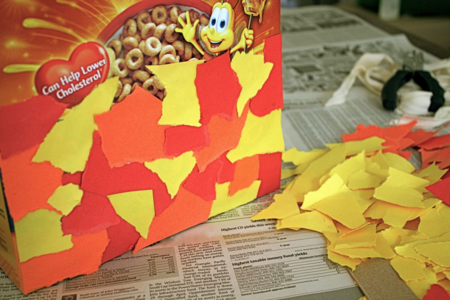 Cereal Box Nature Tote - Red Leaf, Yellow Leaf - Lois Ehlers - offtheshelfblog.com