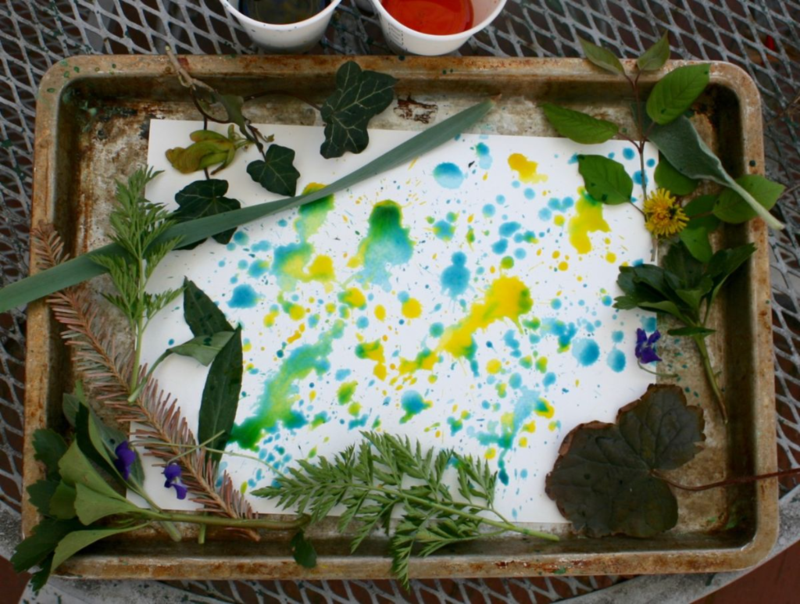 Nature Rain Painting activity inspired by More Than Enough by April Halprin Wayland and Katie Kath - offtheshelfblog.com
