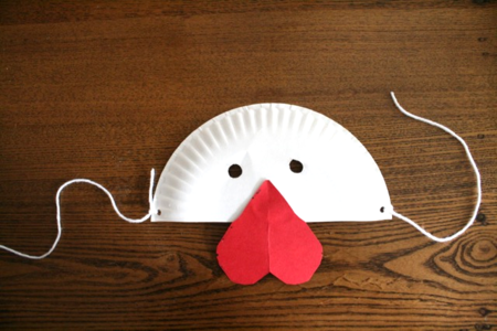 Paper Plate Chicken Mask - The Problem with Chickens - by Bruce McMillan illustrated by Gunnella - offtheshelfblog.com