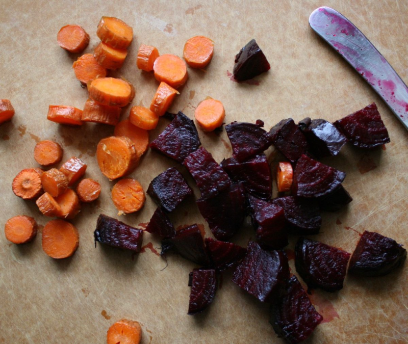 Roasted Beet and Carrot Salad inspired by The Wonderful Habits of Rabbits by Douglas Florian and Sonia Sanchez - offtheshelfblog.com
