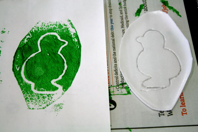 Styrofoam Plate Printmaking - A Sick Day for Amos McGee - offtheshelfblog.com