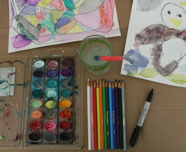 Exploring Ink, Colored Pencil, and Watercolor Art with Kids - One Cool Friend - offtheshelfblog.com