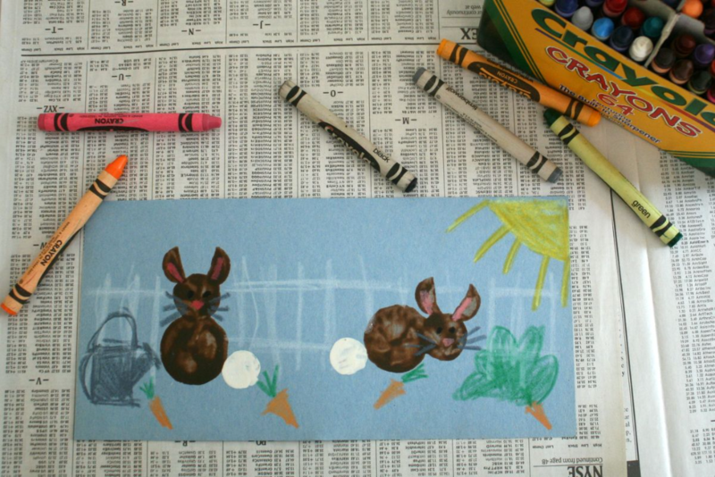 Carrot Rabbit Stamps art activity inspired by The Tale of Peter Rabbit by Beatrix Potter - offtheshelfblog.com