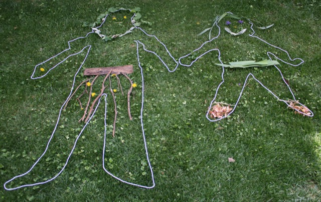 Yarn and Nature Silhouettes outdoor art activity - offtheshelfblog.com